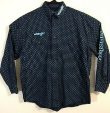Wrangler Logo Men's Blue Cross Western Long Sleeve Shirt Large