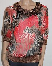 EVENE Designer Multi Print Chiffon 3/4 Sleeve Blouse Top Size M BNWT #sV48