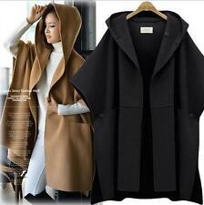 New Womens fashion wool Blend Cape cloak loose hoody jacket outwear hooded coat