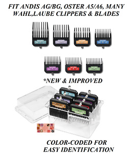 ANDIS Premium Metal Clip On Clipper GUIDE 7pc COMB SET*Fit Many Oster,Wahl Blade
