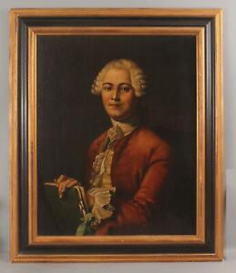 Antique Life-Size 18thC Portrait Oil Painting, Gentleman w/ Powdered Wig & Book
