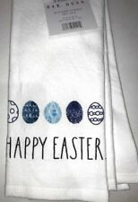 Rae Dunn Happy Easter Blue Eggs White Kitchen Towels 100 Cotton Set of 2
