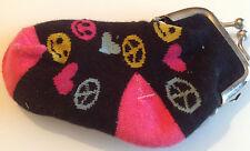 porte monnaie chaussette bébé couleur noir rose fermeture couleur argent Div.