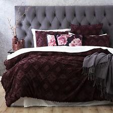 Park Avenue Medallion cotton Vintage washed Tufted Quilt Cover Set Plum