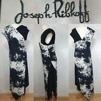 Joseph Ribkoff Black White Abstract Faux Wrap Maxi Stretch Dress Size 10