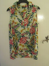 Multicoloured Floral Silky Hip Length Sleeveless Blouse / Top in Size 12