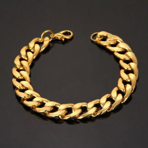 Mens Women Gold Plated Stainless Steel Bracelet Bangle Wrsitband Cuff Chain Link