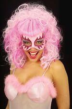 Pink Glitter Eye Mask & Wig Masquerade Ball Cabaret Mardi Gras Showgirl Mask