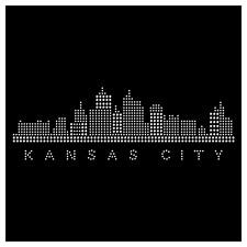 Kansas City Skyline Rhinestone Hot Fix Iron On Transfer