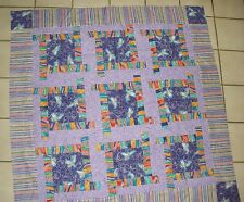Tinker Bell in Purples  Pieced Quilt Top With Binding 48 X 48