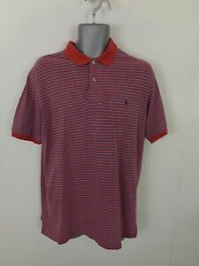 MENS POLO RALPH LAUREN RED/BLUE STRIPE BUTTON UP SHORT SLEEVE POLO SHIRT L LARGE