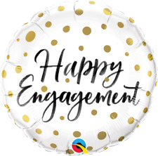 Qualatex Happy Engagement Gold Dots Foil Balloon by Spotlight