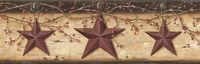 Barn Stars Pip Berries Wallpaper Border Wheat Chesapeake Wallcovering PUR44603B