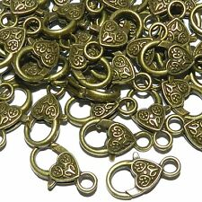 MX934p Antiqued Bronze Large 26mm Heart Design Lobster Claw Focal Clasp 25/pk