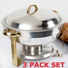 3 Pack Set Stainless Steel Choice Deluxe Buffet 4 Qt. Round Gold Accent Chafer