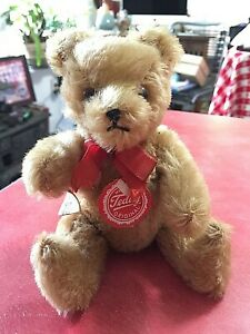 """Tiny Vintage Gold Mohair Jointed Hump Back Hermann Teddy Bear in VGc 7"""""""