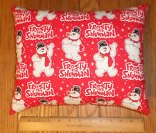 New ** Frosty The Snowman ** Small COTTON Fabric Pillow   Handmade in the U.S.A.