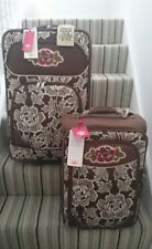 OILILY SUITCASE WHEELED TROLLEYS X2 LUGGAGE BROWN CREAM FLORAL FAST P&P HOLIDAY