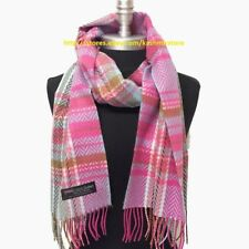 Fashion Women's Winter Warm 100% Cashmere Scarf Wrap SCOTLAND Plaid Pink/Blue