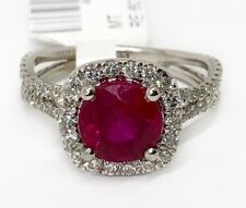2.83 Ct Diamond and Red Ruby 14k White Gold Engagement Ring Size 6.25 Bridale