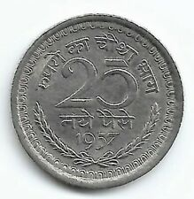 India 25 Naye Paise, Scarce Bom/Cal Mint, 1957, AUNC Condition, Nickel Coin