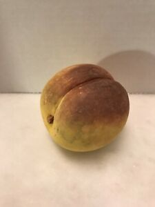 "Vintage Alabaster Stone Peach  Large  Hand carved 3"""