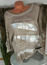 NEU ITALY LEGERE BLUSE STAR ★ METALLIC STATEMENT PAILLETTEN WASHED TAUPE 40-44