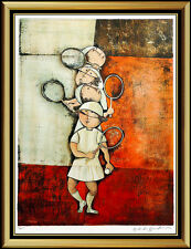 Graciela Rodo Boulanger Tennis Lithograph Original Signed Female Children Art