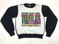 Vtg 90s TMNT Ringer Sweatshirt kick some shell Aesthetic youth L USA Vaporwave