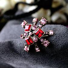 Bague Art Déco Fleur Rouge Rose Doré Retro Ancien Vintage Original Cadeau 53 Z1