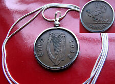 "1942 IRISH Harp, Hen and Chicks, Pingin Pendant on a 30"" .925 Silver Snake Chain"