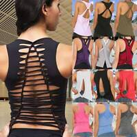 Women Yoga Racerback Tank Top Fitness Stretch Workout Baggy Gym Sports Bra Tops