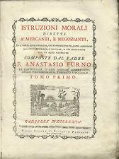 Furno Istruzioni Morali dirette a' Mercanti e Negozianti  Vercelli Panialis 1776