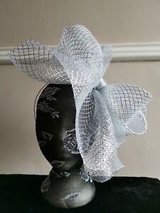 silver fascinator millinery burlesque headband wedding hat hair piece ascot race