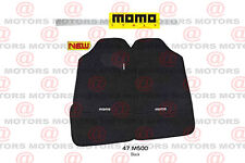 Carpet 4 pc Mat Set Universal Car Plush MOMO Floor Mats BLACK & White Front Rear