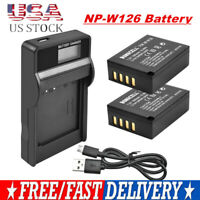 2X NP-W126 NP-W126S Battery + LCD Charger for Fujifilm X-M1 X-A1 X-T1 X100F XE1