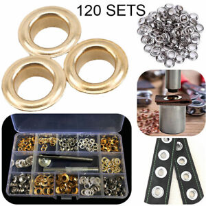 120 Set 4-6mm Metal Grommets Eyelets Tool Kit Set for Leather Canvas Clothes DIY