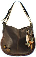 Chala Purse Handbag Leather Hobo Cross Body Convertible Dragonfly Dark Brown