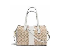 Coach F28505 Signature Stripe Nancy Satchel Handbag Crossbody bag Khaki lvory