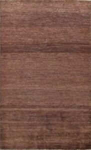 Contemporary Gabbeh Kashkoli Oriental Area Rug Handmade Brown Wool Carpet 6x8