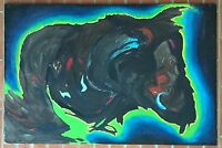 Vintage 60s 70s Abstract Oil Painting Retro Art Mid Century Modern Wall Hanging