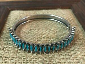 Antique Estate Vtg Silver Tone Southwest Turquoise Cuff Bangle Bracelet Hinged