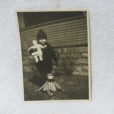 """Vintage 5"""" x 6-3/4"""" Photograph of Young Girl DOLLS CLOWN - Bundled - CUTE!"""