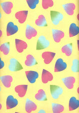Rainbow Hearts Flannel Yellow FLANNEL Quilt Fabric - 3/8 Yard Piece