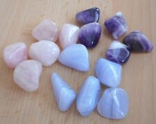 Mixed Tumblestones - Rose Quartz, Amethyst, Blue Lace Agate - 15 Crystals