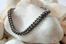 Pulsera de plata esterlina hecho a mano hecha a mano artesanal brazalete de Bali para mujer 925 Joyas