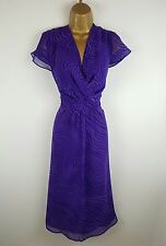 Per Una Purple Pattern Spring Summer Evening Party Occasion Dress Size 12 Long