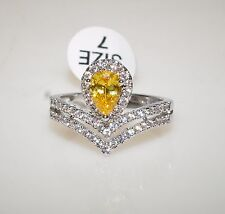 Yellow Tourmaline Pear Cut White Gold Plate Cocktail Right Hand Ring Size 7 New