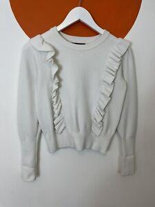 Zara Knit Frill Sweatshirt Sweater Jumper Top Cotton Crew Neck White UK Size 10
