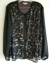 COLDWATER CREEK sz 1X Tee Top Sequin Embelished Front, Long Sleeve,